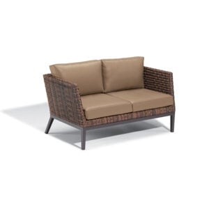 Salino Wicker Loveseat – Nauticau Faux Leather Cushions